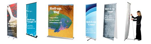 Smarte Roll-up bannere til markedsføring - Kan bruges i enhver handel