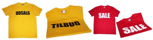 UDSALGs T-shirt med tryk - eller med TILBUD og SALE